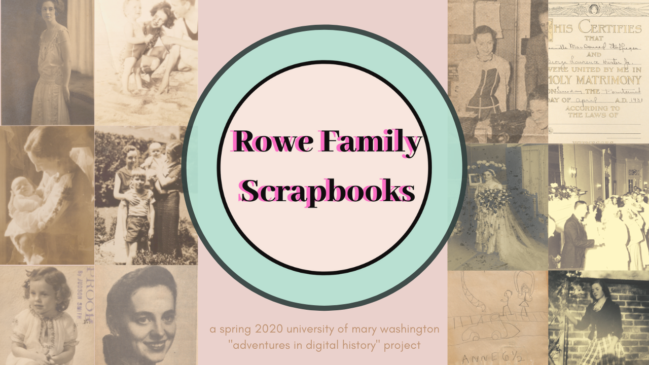 Collage of scrapbook photographs with exhibit title overlayed on top